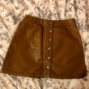 Forever 21 Faux Leather Button Down Skirt